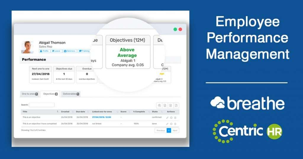Employee Performance Management Breath Software - Centric HR