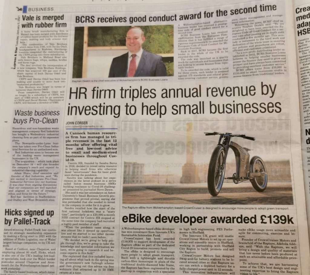 Centric HR making the news - Expres and Star January 2021